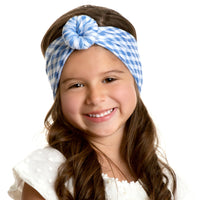 Turban Nylon Checkered Headwrap BLUE