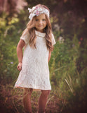 Cotton Lace Cream Tunic Dress - Think Pink Bows - 1