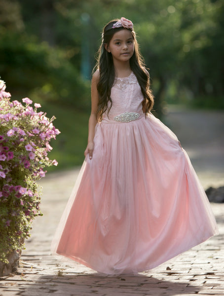 Vienna Flower Girl Lace Dress Dusty Rose