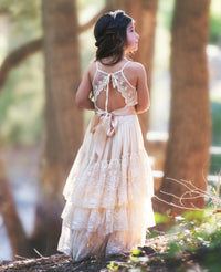 Skylar Flower Girl Lace Halter Dress - Champagne