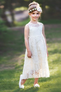 Ella Flower Girl Lace Sleeveless Dress -  Ivory
