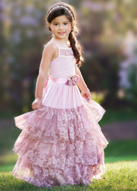 Skylar Flower Girl Lace Halter Dress - Dusty Rose