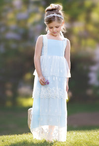 Anastasia Flower Girl Lace Dress - Baby Blue