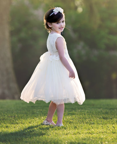 Analeah Flower Girl Dress - Ivory