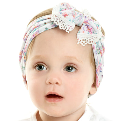 Unicorn Lace Trim Nylon Headwrap UP1