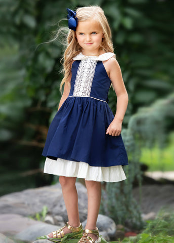 Madison Twirl Dress Navy