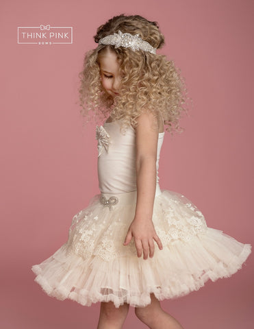 Wanderlust Lace and Tulle Skirt - Ivory - Think Pink Bows - 1