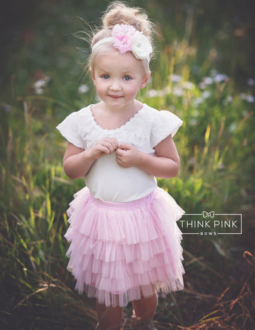 Strawberry Cream Shortcake Tiered Tulle Skirt - Think Pink Bows - 1