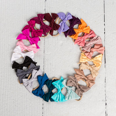 Glam Taffeta Hand Tied  Bow Nylon Headbands 23 Colors - SMALL
