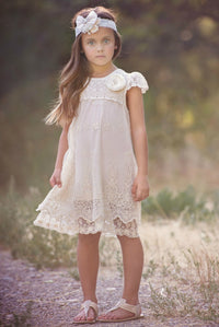 Audrey Cap Sleeve Lace Flower Girl Dress Ivory