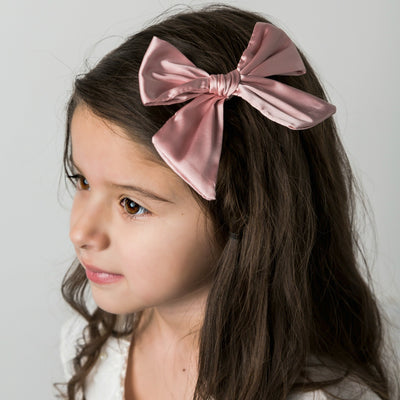 Glam Taffeta Hand Tied  Bow Hair Clip 23 Colors - Large