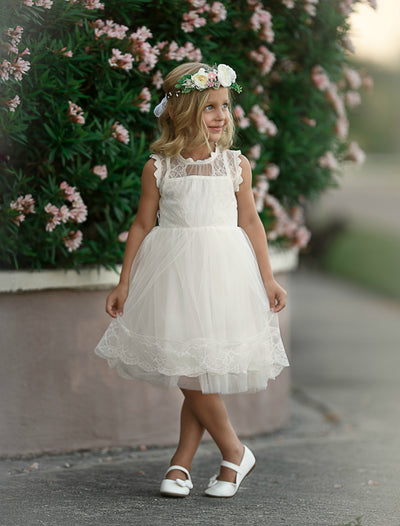Victorian Gardens Tulle Lace Dress with Pure Paradise Sash - Ivory