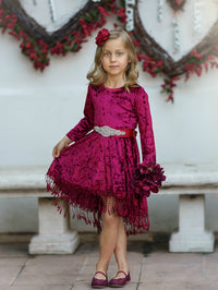 Marissa Crushed Velvet Dress - Burgundy