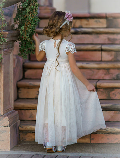 Luciana Long Cap Sleeve Lace Flower Girl Dress Ivory