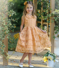 Mikayla Lace Flower Girl Dress  Mustard