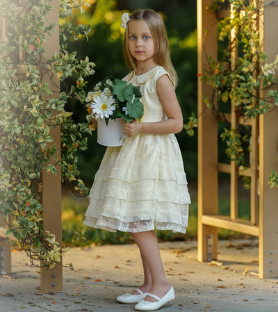 Mikayla Lace Flower Girl Dress  Ivory