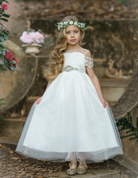 Irina Flower Girl Off LONG White Dress