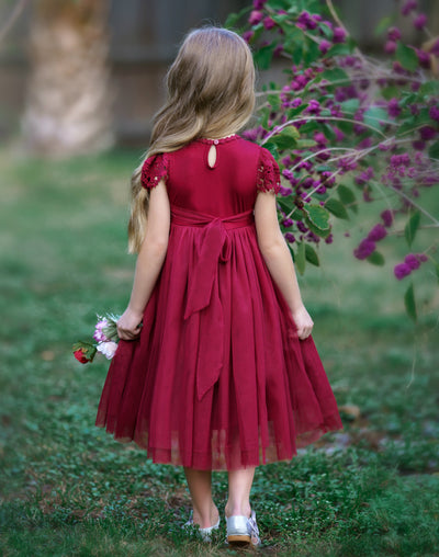 Luciana Cap Sleeve Lace Flower Girl Dress Wine
