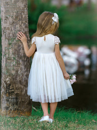 Luciana Cap Sleeve Lace Flower Girl Dress Off White