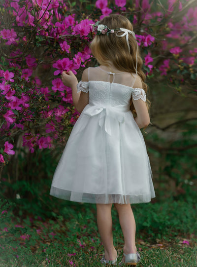 Irina Flower Girl Off Short White Dress