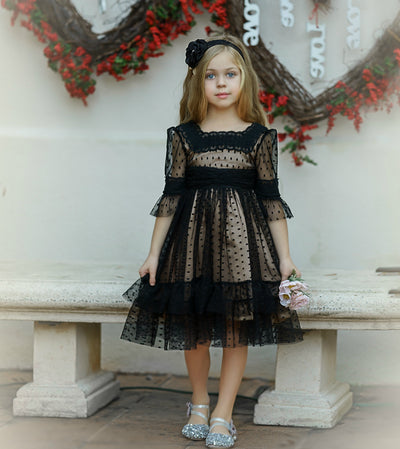 Ainhoa Short BLACK Flower Girl Dress