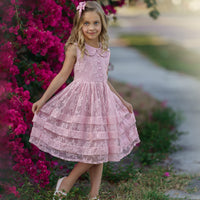 Mikayla Lace Flower Girl Dress  Dusty rose