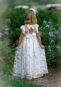 Eliza Flower Girl Lace Open Back Dress - White