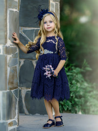 Josephine Short Dress - Navy