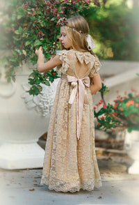 Eliza Flower Girl Lace Open Back Dress - Champagne