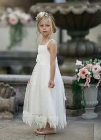 Francesca Flower Girl Lace Dress Off White