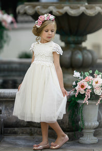 Luciana Cap Sleeve Lace Flower Girl Dress Ivory