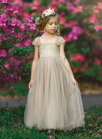 Rosemary Flower Girl Antique Blush Champagne Dress