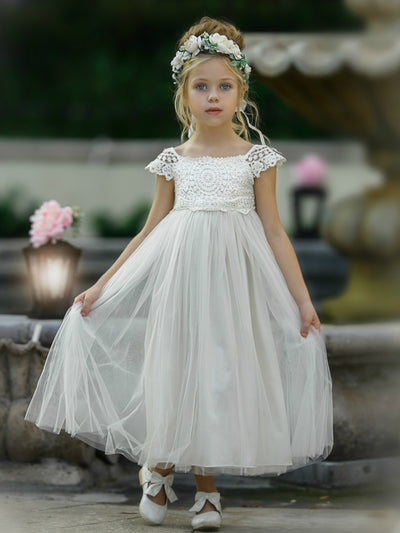 Emory Flower Girl Ivory Dress