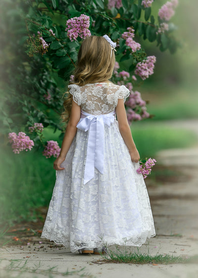 Stella Flower Girl Lace Closed Back Dress - White