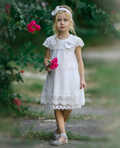 Audrey Cap Sleeve Lace Flower Girl Dress Off White