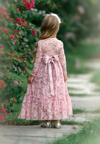 Sweetheart Flower Girl Lace Long Sleeve Dress - Mauve
