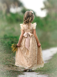 Stella Flower Girl Lace Closed Back Dress - Champagne