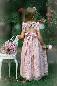 Eliza Flower Girl Lace Open Back Dress - Dusty Pink
