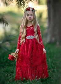 Sweetheart Flower Girl Lace Long Sleeve Dress - Red