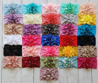 Dahlia Nylon FLOWER Headwraps 32 Colors