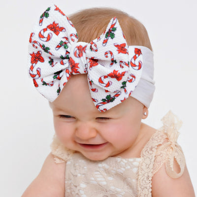 Lola Nylon PRINTS Headwraps White Candy Cane