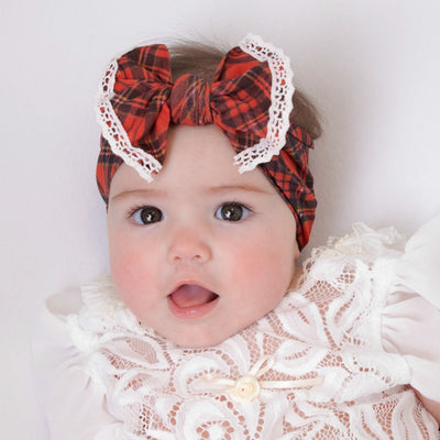 Christmas PLAID Lace trim Nylon Headwrap