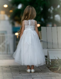 Florencia LONG Flower Girl Off White Dress