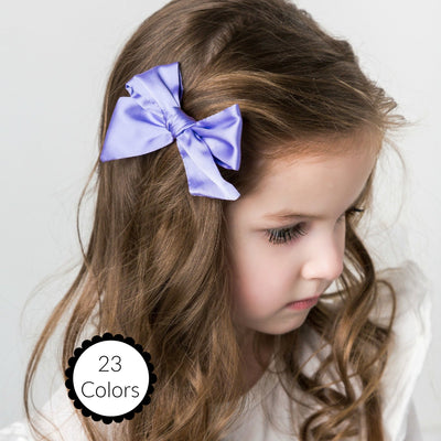 Glam Taffeta Hand Tied Bow Hair Clip 23 Colors - SMALL