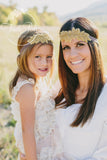 Gold Leaf Bling Wedding Bridal Headband - Think Pink Bows - 6
