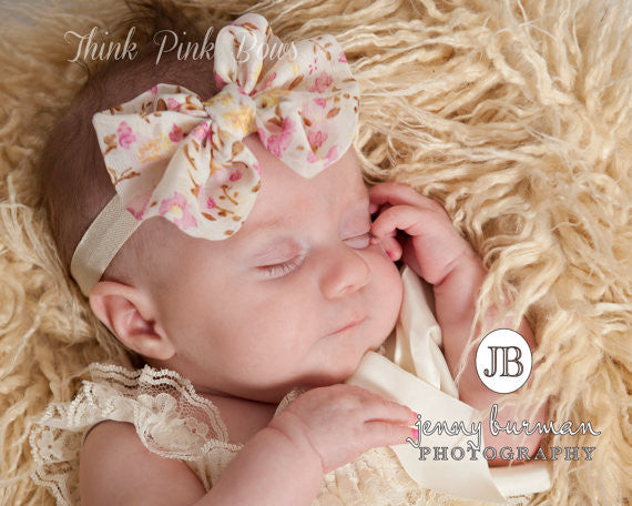 Patterned Chiffon Bow Headband - Think Pink Bows - 1