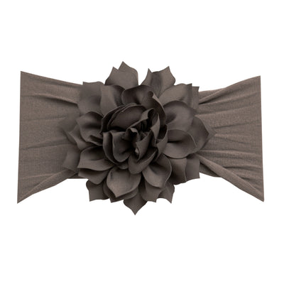 Dahlia Nylon FLOWER Headwraps NEUTRAL GREY 16