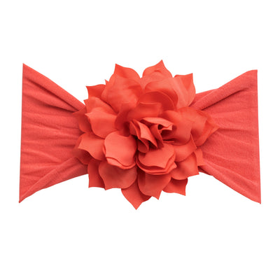 Dahlia Nylon FLOWER Headwraps CORAL 9