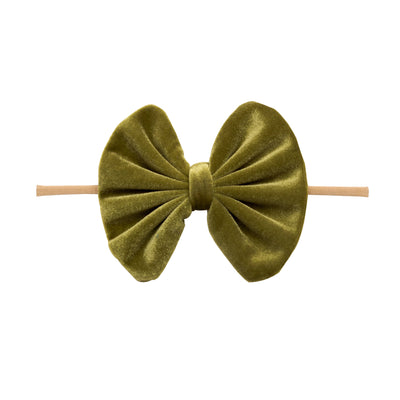 Velvet Bow on Skinny Nylon Headband Olive 8