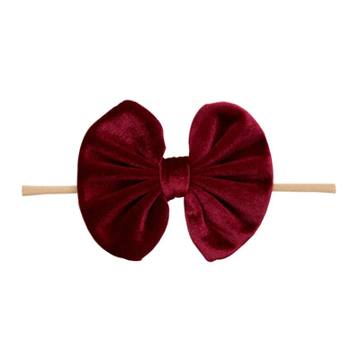 Velvet Bow on Skinny Nylon Headband Ruby 7